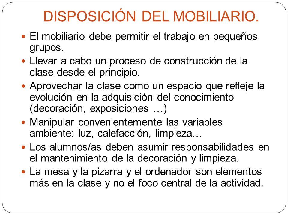 DISPOSICIÓN DEL MOBILIARIO. El mobiliario debe permitir el trabajo en pequeños grupos.