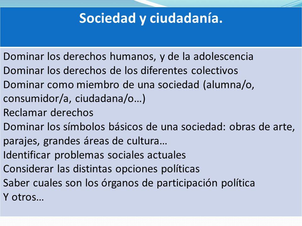 Sociedad y ciudadanía. Dominar los derechos humanos, y de la adolescencia Dominar los derechos de los diferentes colectivos Dominar como miembro de un