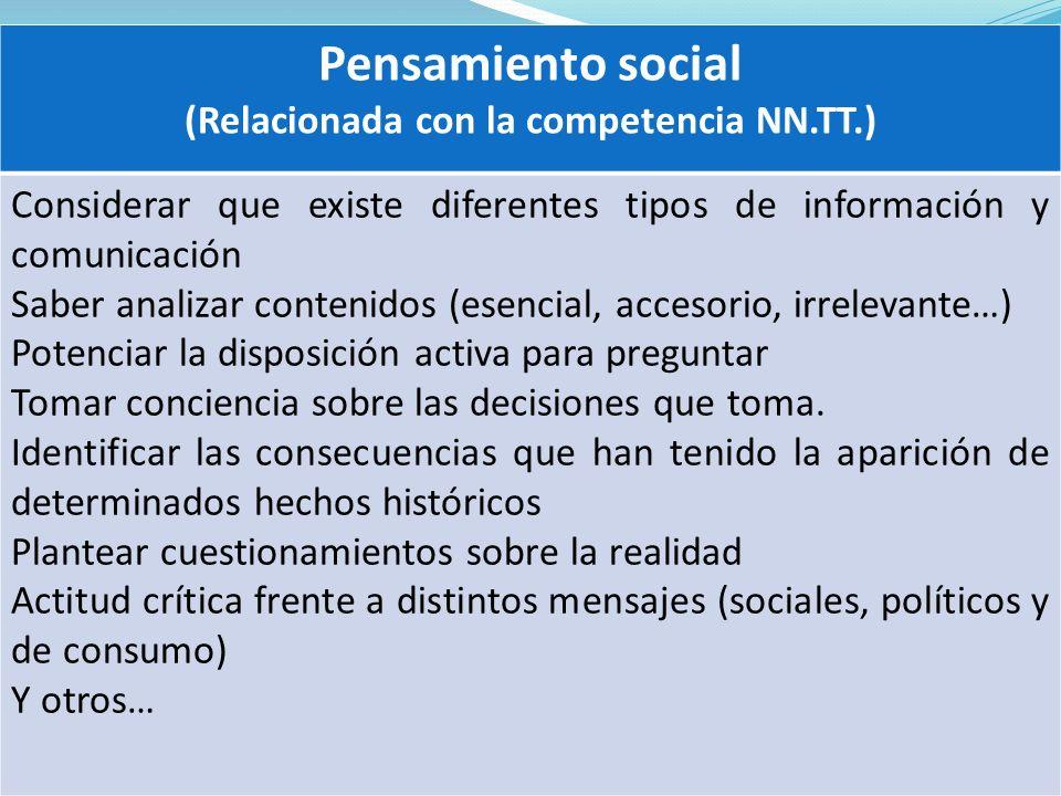 Pensamiento social (Relacionada con la competencia NN.TT.) Considerar que existe diferentes tipos de información y comunicación Saber analizar conteni