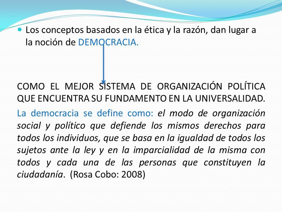 Los conceptos basados en la ética y la razón, dan lugar a la noción de DEMOCRACIA. COMO EL MEJOR SISTEMA DE ORGANIZACIÓN POLÍTICA QUE ENCUENTRA SU FUN