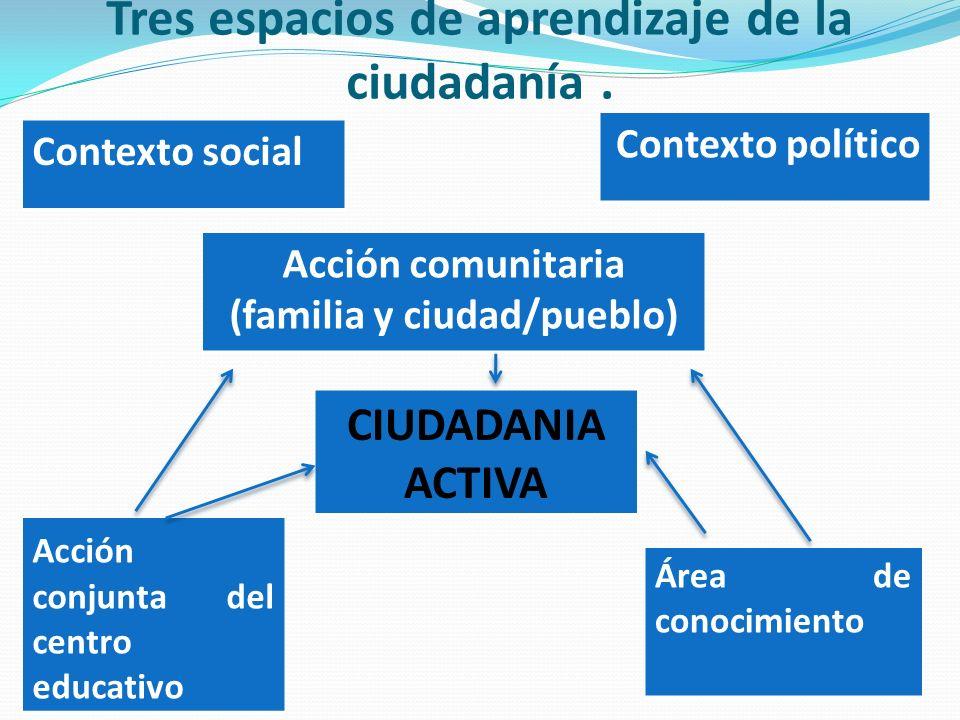 Tres espacios de aprendizaje de la ciudadanía. Contexto social Contexto político Acción comunitaria (familia y ciudad/pueblo) CIUDADANIA ACTIVA Acción
