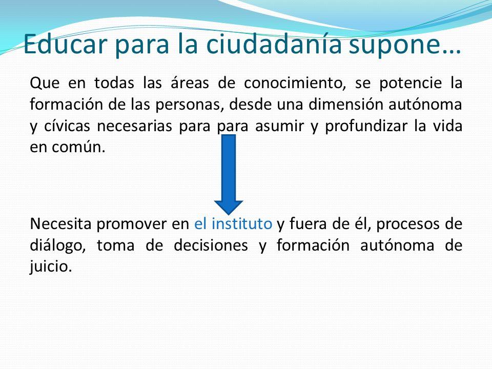 Educar para la ciudadanía supone… Que en todas las áreas de conocimiento, se potencie la formación de las personas, desde una dimensión autónoma y cív