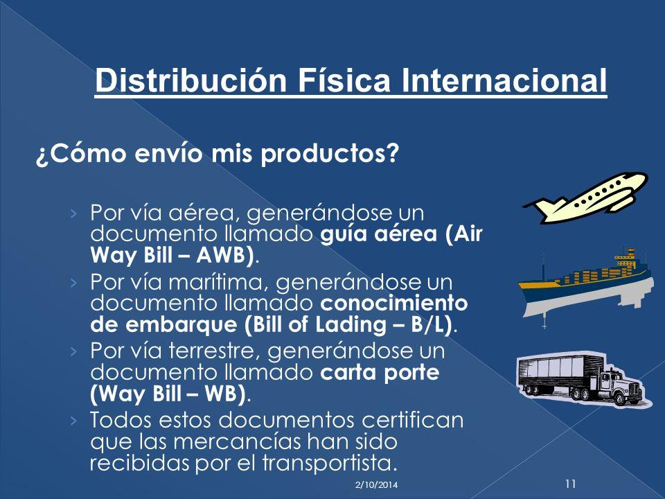 ¿Cómo envío mis productos? Por vía aérea, generándose un documento llamado guía aérea (Air Way Bill – AWB). Por vía marítima, generándose un documento