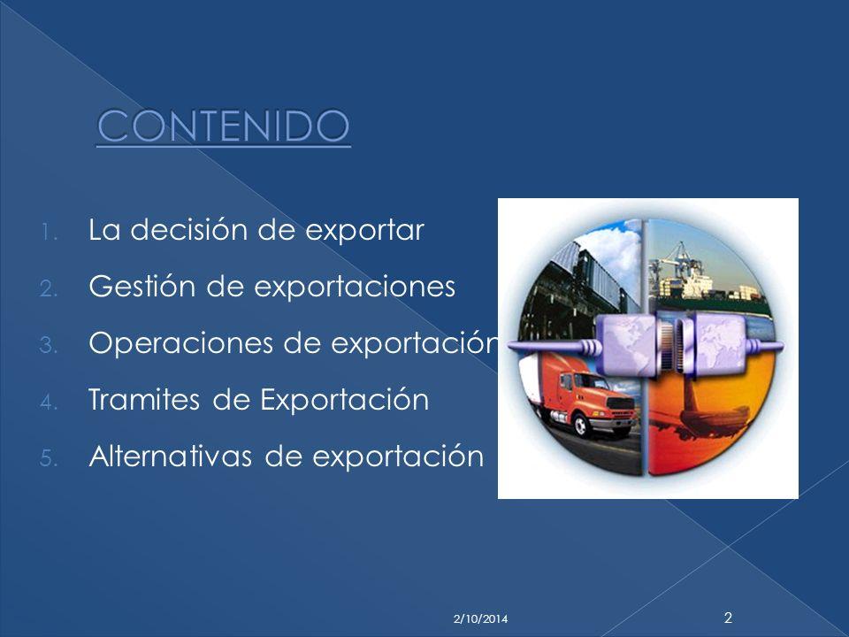 1. La decisión de exportar 2. Gestión de exportaciones 3. Operaciones de exportación 4. Tramites de Exportación 5. Alternativas de exportación 2/10/20