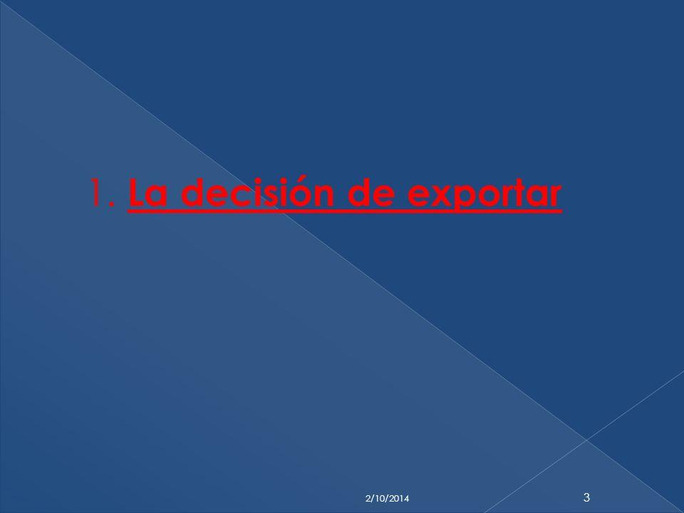 1. La decisión de exportar 2/10/2014 3