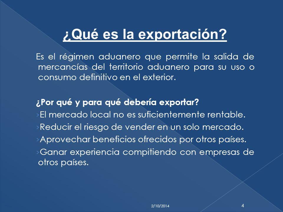 Es el régimen aduanero que permite la salida de mercancías del territorio aduanero para su uso o consumo definitivo en el exterior. ¿Por qué y para qu