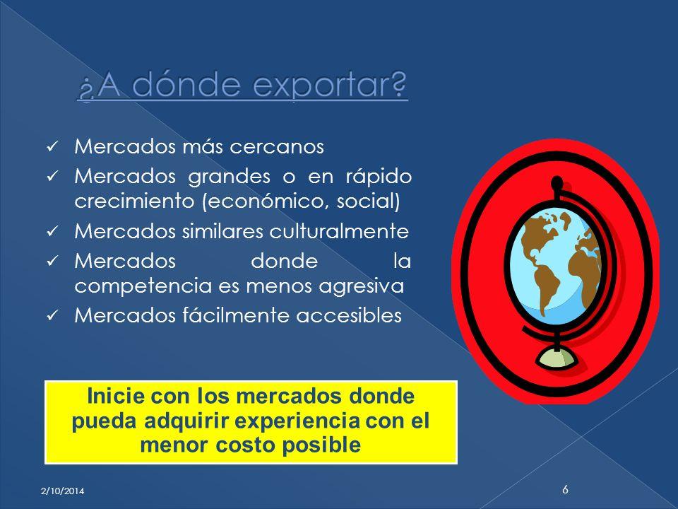 Mercados más cercanos Mercados grandes o en rápido crecimiento (económico, social) Mercados similares culturalmente Mercados donde la competencia es m