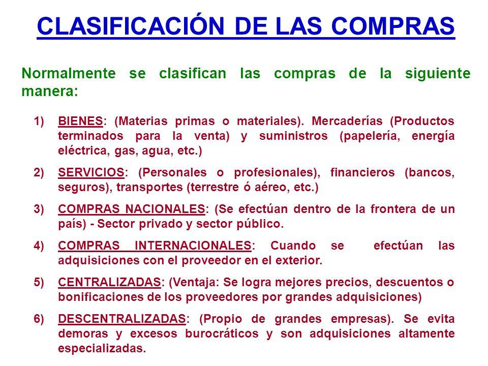 CLASIFICACIÓN DE LAS COMPRAS Normalmente se clasifican las compras de la siguiente manera: 1)BIENES: (Materias primas o materiales). Mercaderías (Prod