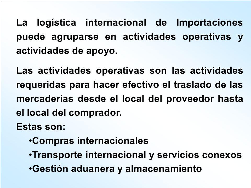 La logística internacional de Importaciones puede agruparse en actividades operativas y actividades de apoyo. Las actividades operativas son las activ