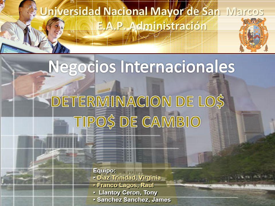 Universidad Nacional Mayor de San Marcos E.A.P. Administración Equipo: Diaz Trinidad, Virginia Diaz Trinidad, Virginia Franco Lagos, Raul Franco Lagos