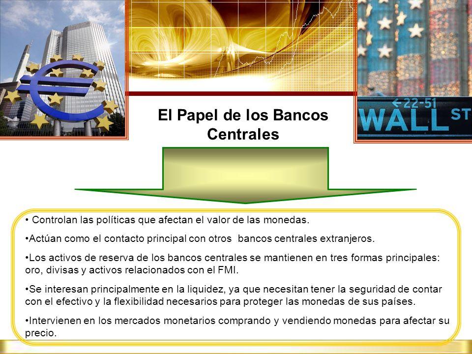 El Papel de los Bancos Centrales Controlan las políticas que afectan el valor de las monedas. Actúan como el contacto principal con otros bancos centr