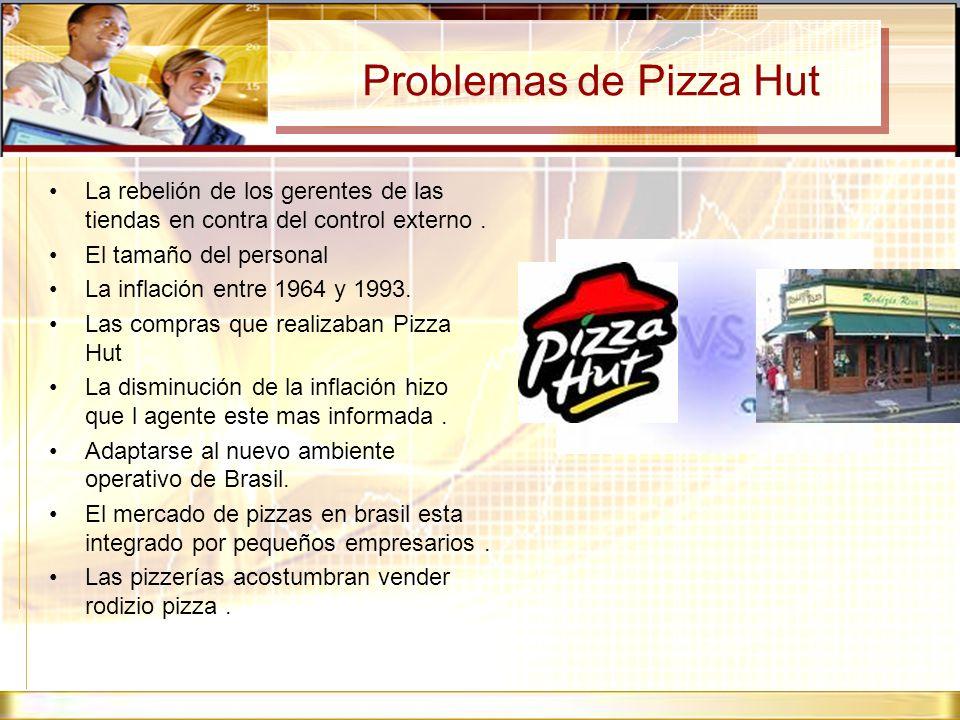 Problemas de Pizza Hut La rebelión de los gerentes de las tiendas en contra del control externo. El tamaño del personal La inflación entre 1964 y 1993