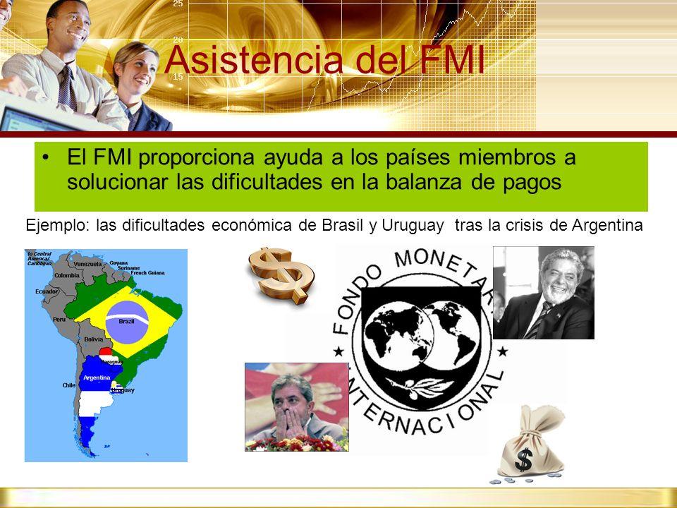 Asistencia del FMI El FMI proporciona ayuda a los países miembros a solucionar las dificultades en la balanza de pagos Ejemplo: las dificultades econó