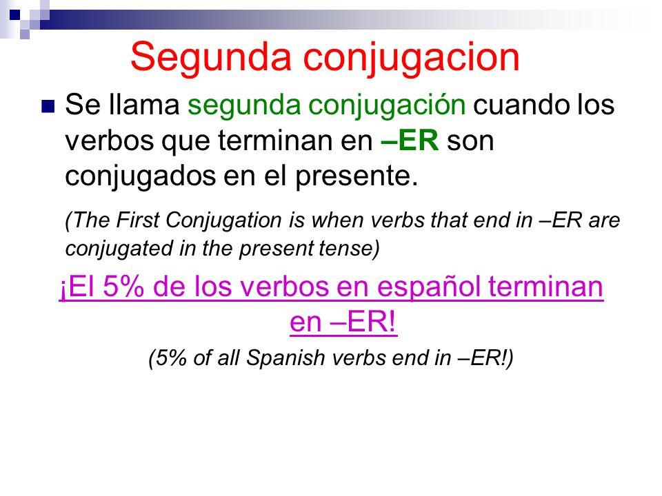 Segunda conjugacion Se llama segunda conjugación cuando los verbos que terminan en –ER son conjugados en el presente. (The First Conjugation is when v
