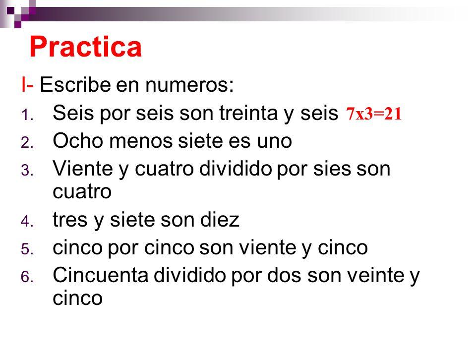 I- Escribe en numeros: 1. Seis por seis son treinta y seis 2.