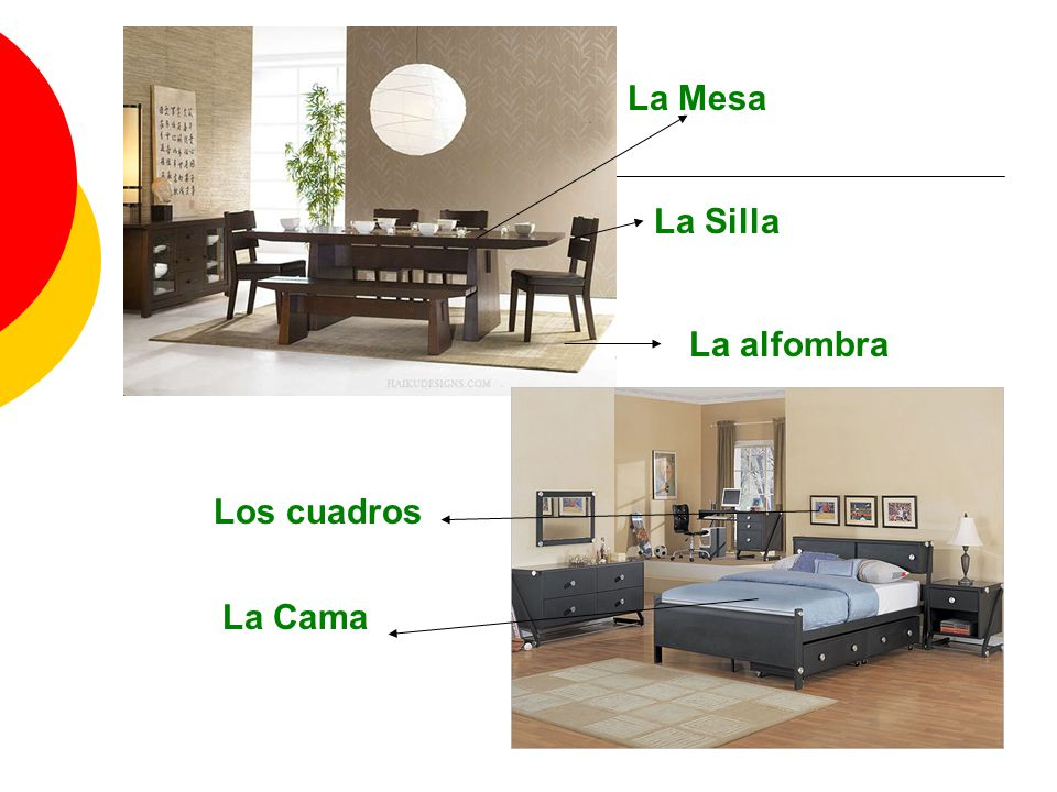 La Mesa La Silla La alfombra La Cama Los cuadros