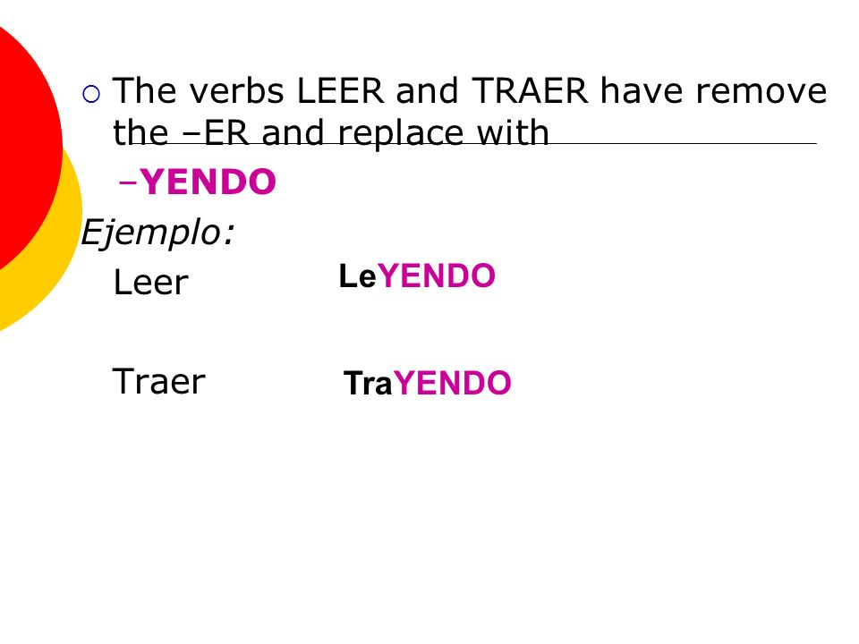 The verbs LEER and TRAER have remove the –ER and replace with –YENDO Ejemplo: Leer Traer LeYENDO TraYENDO