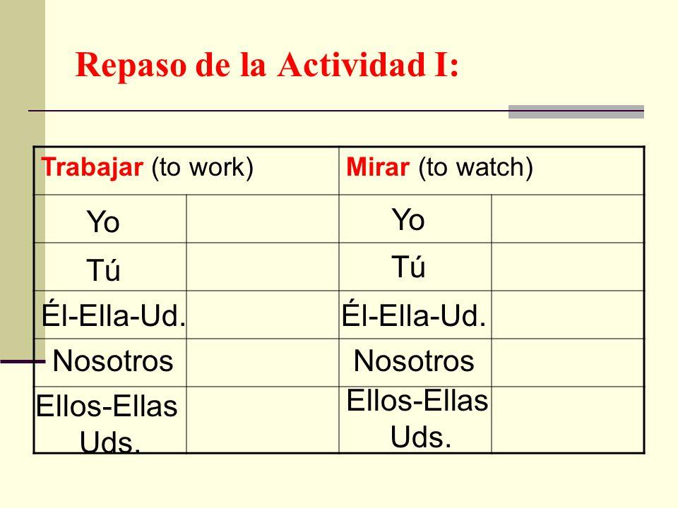 Repaso de la Actividad I: Trabajar (to work)Mirar (to watch) Yo Tú Él-Ella-Ud. Nosotros Ellos-Ellas Uds. Yo Tú Él-Ella-Ud. Nosotros Ellos-Ellas Uds.