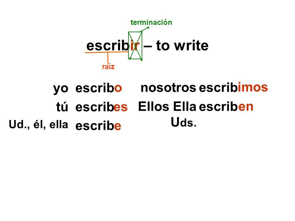 escribir – to write escrib nosotros Ellos Ella U ds.
