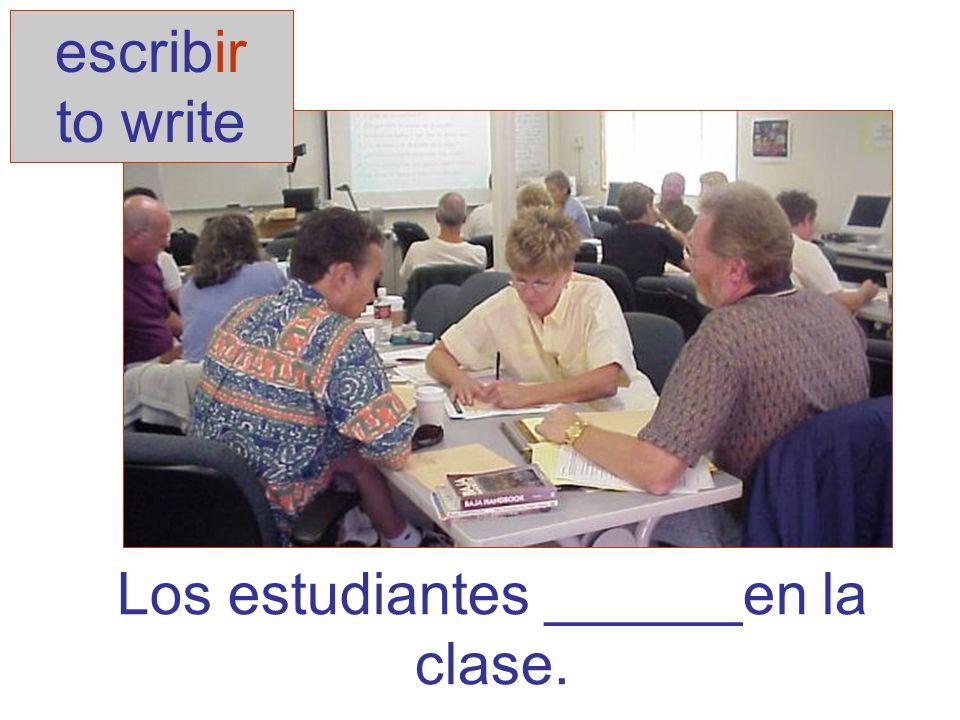 Yo agua.(beber) Tú la tarea. (escribir) Ella en Chile.