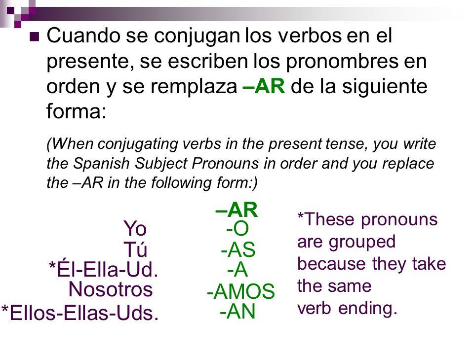 Cuando se conjugan los verbos en el presente, se escriben los pronombres en orden y se remplaza –AR de la siguiente forma: (When conjugating verbs in