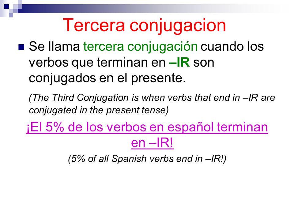 Tercera conjugacion Se llama tercera conjugación cuando los verbos que terminan en –IR son conjugados en el presente. (The Third Conjugation is when v
