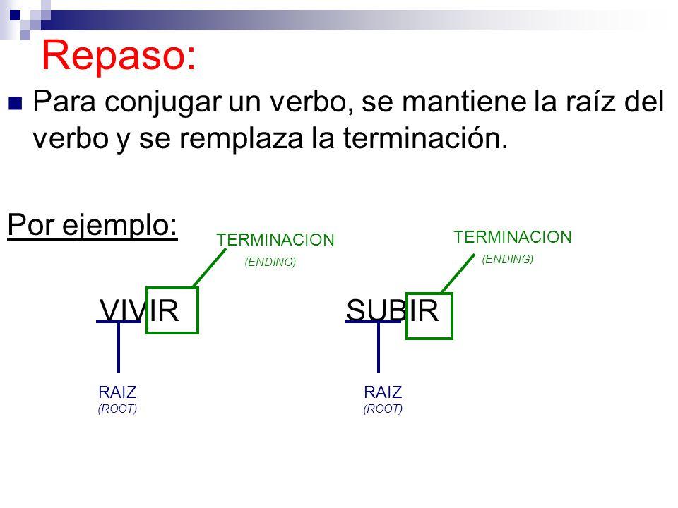 Repaso: Para conjugar un verbo, se mantiene la raíz del verbo y se remplaza la terminación. Por ejemplo: VIVIRSUBIR TERMINACION (ENDING) RAIZ (ROOT) T