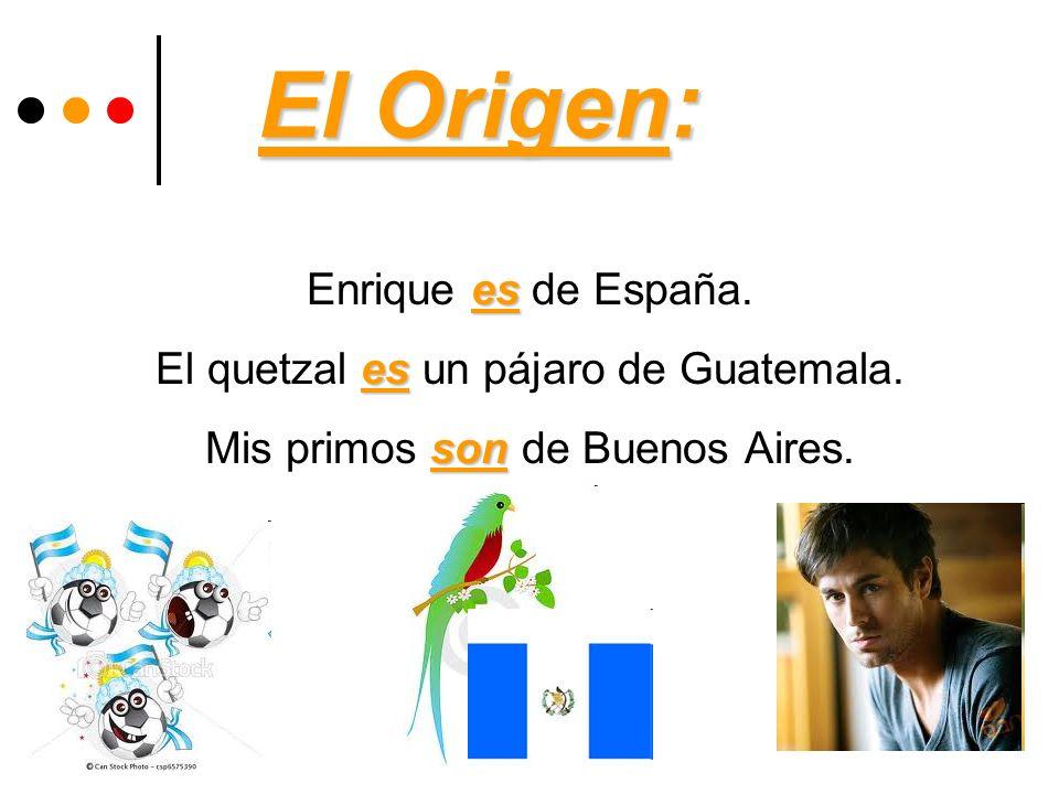El Origen: es Enrique es de España. es El quetzal es un pájaro de Guatemala. son Mis primos son de Buenos Aires.