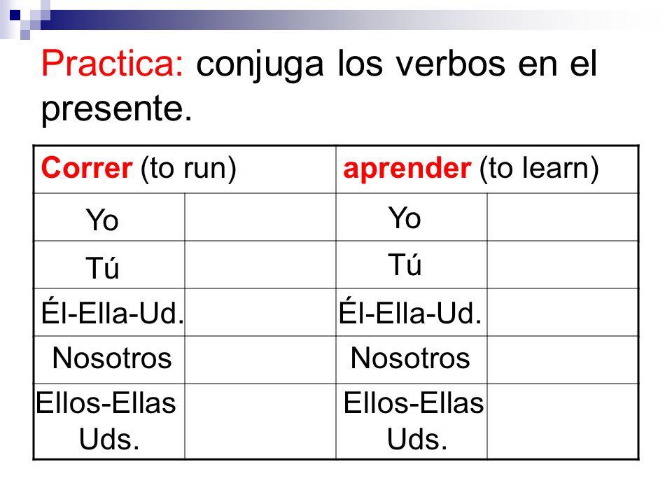 Practica: conjuga los verbos en el presente. Correr (to run)aprender (to learn) Yo Tú Él-Ella-Ud. Nosotros Ellos-Ellas Uds. Yo Tú Él-Ella-Ud. Nosotros
