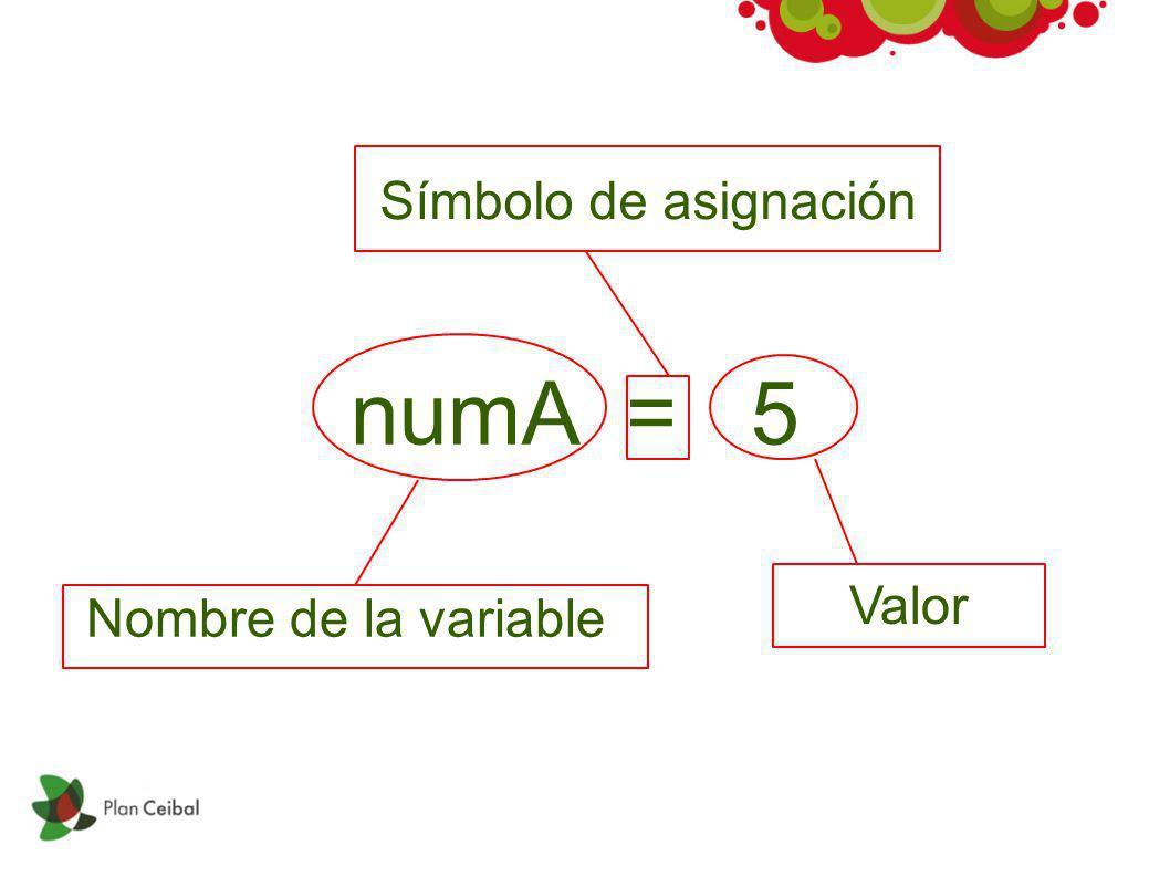 numA = 5 Nombre de la variable Símbolo de asignación Valor