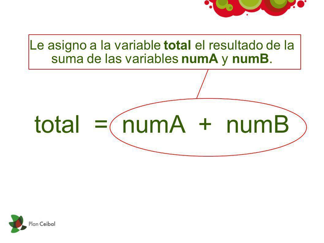 total = numA + numB Le asigno a la variable total el resultado de la suma de las variables numA y numB.