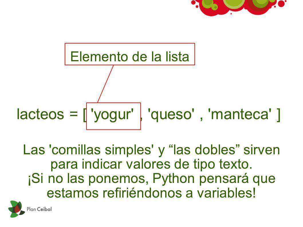 lacteos = [ 'yogur', 'queso', 'manteca' ] Elemento de la lista Las 'comillas simples' y las dobles sirven para indicar valores de tipo texto. ¡Si no l