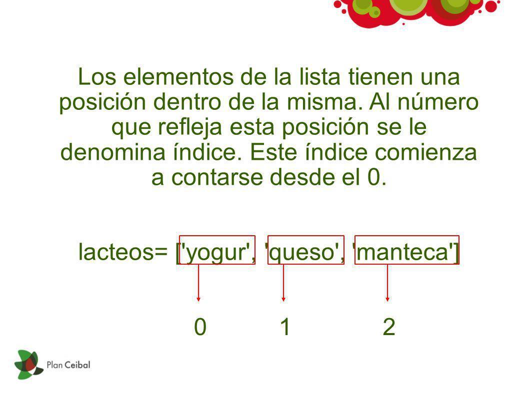 Los elementos de la lista tienen una posición dentro de la misma. Al número que refleja esta posición se le denomina índice. Este índice comienza a co