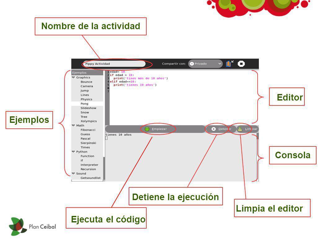Ejemplos Editor Nombre de la actividad Consola Limpia el editor Detiene la ejecución Ejecuta el código