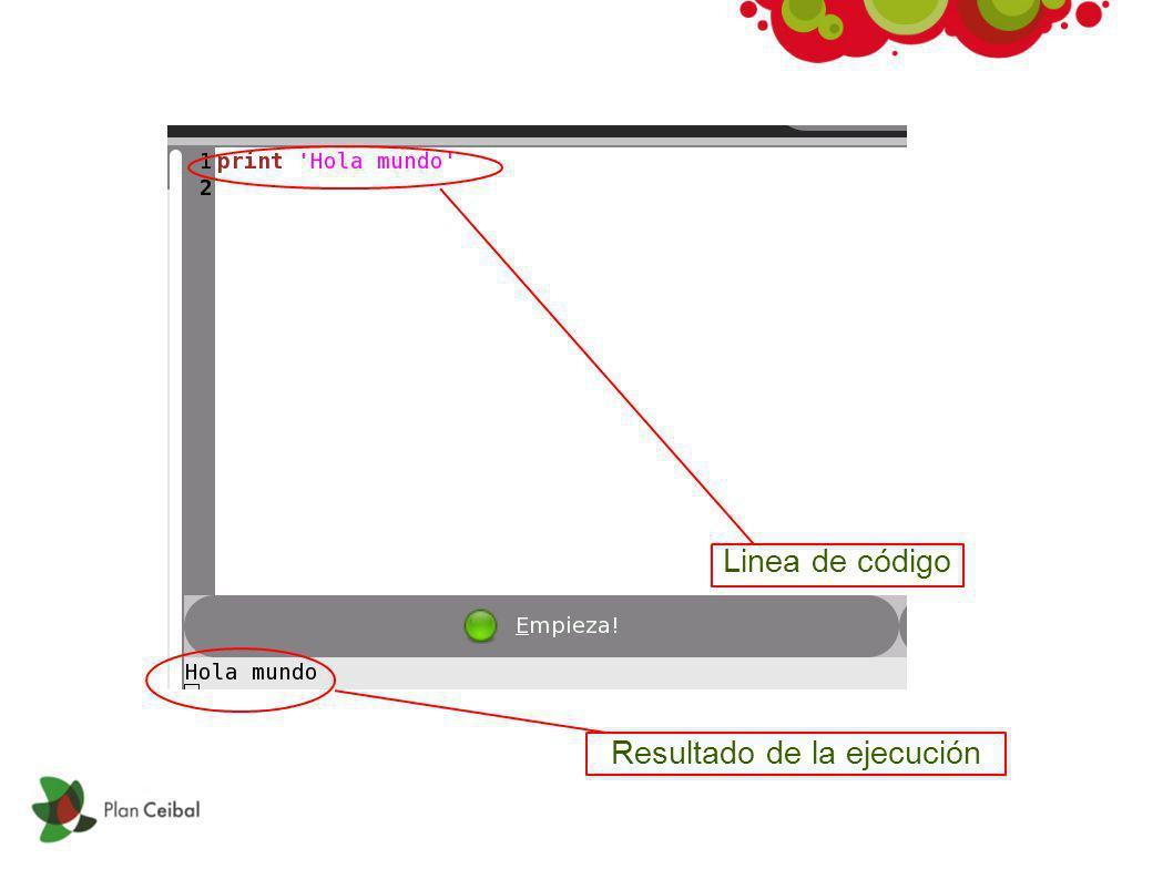 Linea de código Resultado de la ejecución