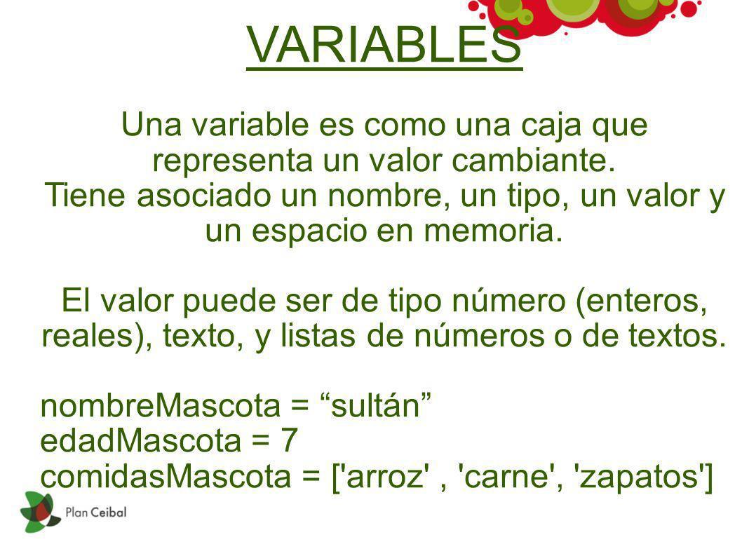 VARIABLES Una variable es como una caja que representa un valor cambiante. Tiene asociado un nombre, un tipo, un valor y un espacio en memoria. El val
