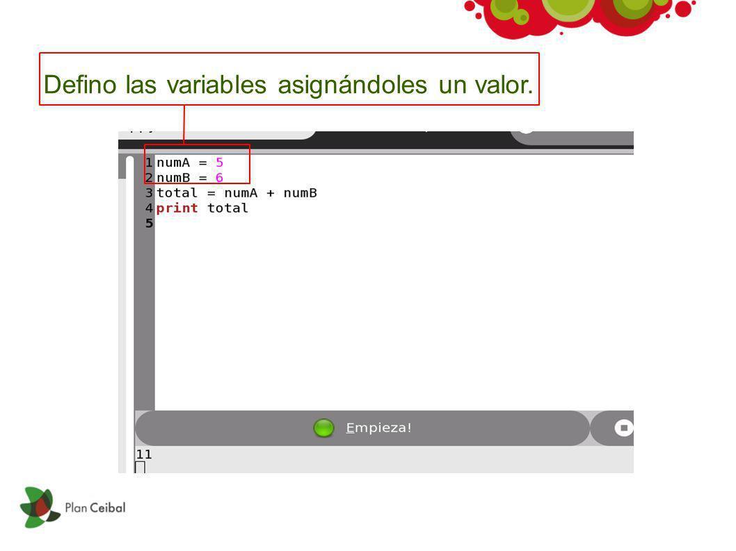 Defino las variables asignándoles un valor.