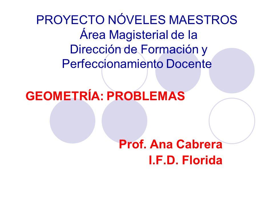PROYECTO NÓVELES MAESTROS Área Magisterial de la Dirección de Formación y Perfeccionamiento Docente GEOMETRÍA: PROBLEMAS Prof. Ana Cabrera I.F.D. Flor