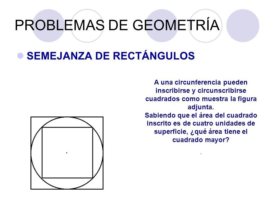 PROBLEMAS DE GEOMETRÍA SEMEJANZA DE RECTÁNGULOS A una circunferencia pueden inscribirse y circunscribirse cuadrados como muestra la figura adjunta. Sa