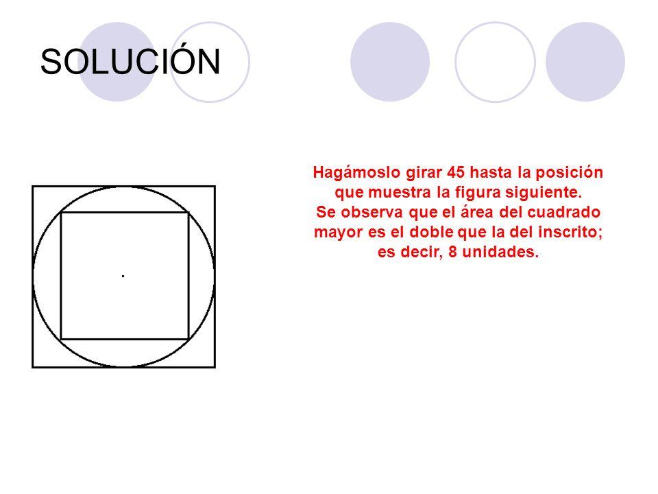 SOLUCIÓN Hagámoslo girar 45 hasta la posición que muestra la figura siguiente. Se observa que el área del cuadrado mayor es el doble que la del inscri