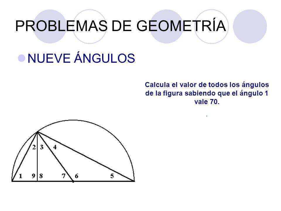 PROBLEMAS DE GEOMETRÍA NUEVE ÁNGULOS Calcula el valor de todos los ángulos de la figura sabiendo que el ángulo 1 vale 70..