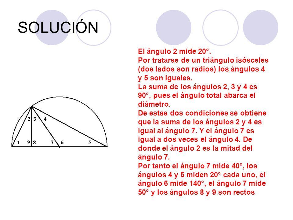 SOLUCIÓN El ángulo 2 mide 20°. Por tratarse de un triángulo isósceles (dos lados son radios) los ángulos 4 y 5 son iguales. La suma de los ángulos 2,