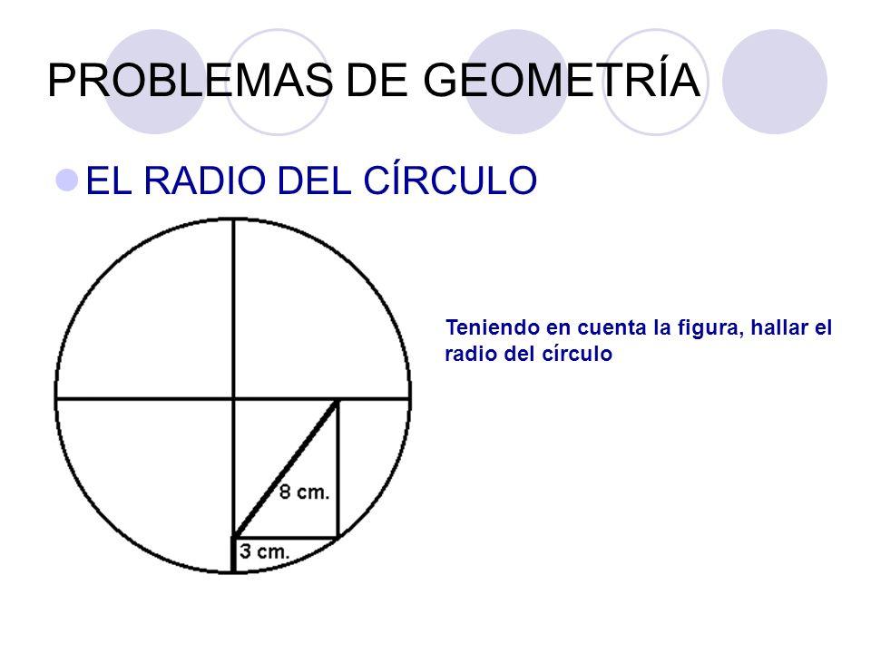 PROBLEMAS DE GEOMETRÍA EL RADIO DEL CÍRCULO Teniendo en cuenta la figura, hallar el radio del círculo