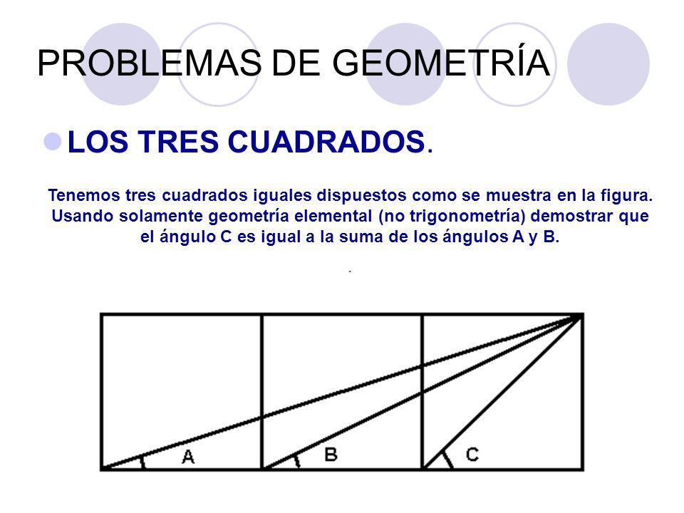 PROBLEMAS DE GEOMETRÍA LOS TRES CUADRADOS. Tenemos tres cuadrados iguales dispuestos como se muestra en la figura. Usando solamente geometría elementa