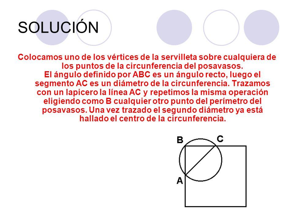SOLUCIÓN Colocamos uno de los vértices de la servilleta sobre cualquiera de los puntos de la circunferencia del posavasos. El ángulo definido por ABC