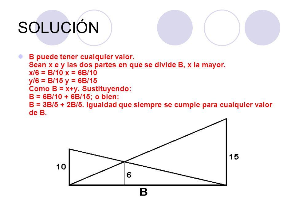 SOLUCIÓN B puede tener cualquier valor. Sean x e y las dos partes en que se divide B, x la mayor. x/6 = B/10 x = 6B/10 y/6 = B/15 y = 6B/15 Como B = x
