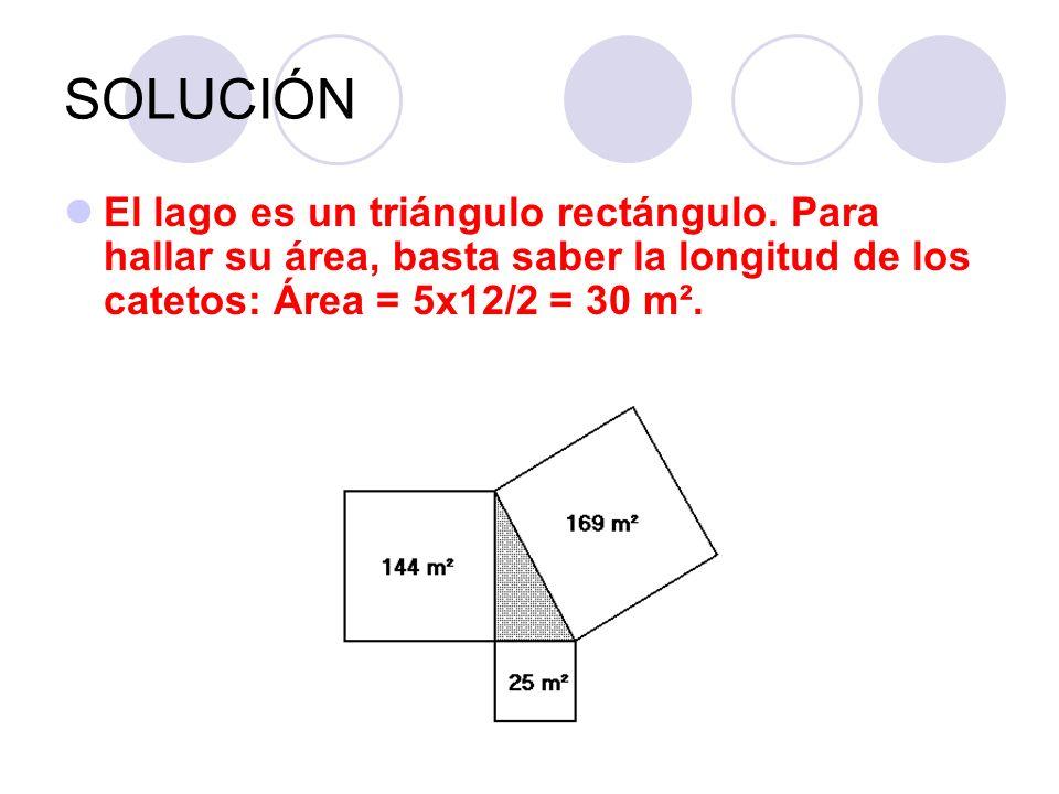 SOLUCIÓN El lago es un triángulo rectángulo. Para hallar su área, basta saber la longitud de los catetos: Área = 5x12/2 = 30 m².