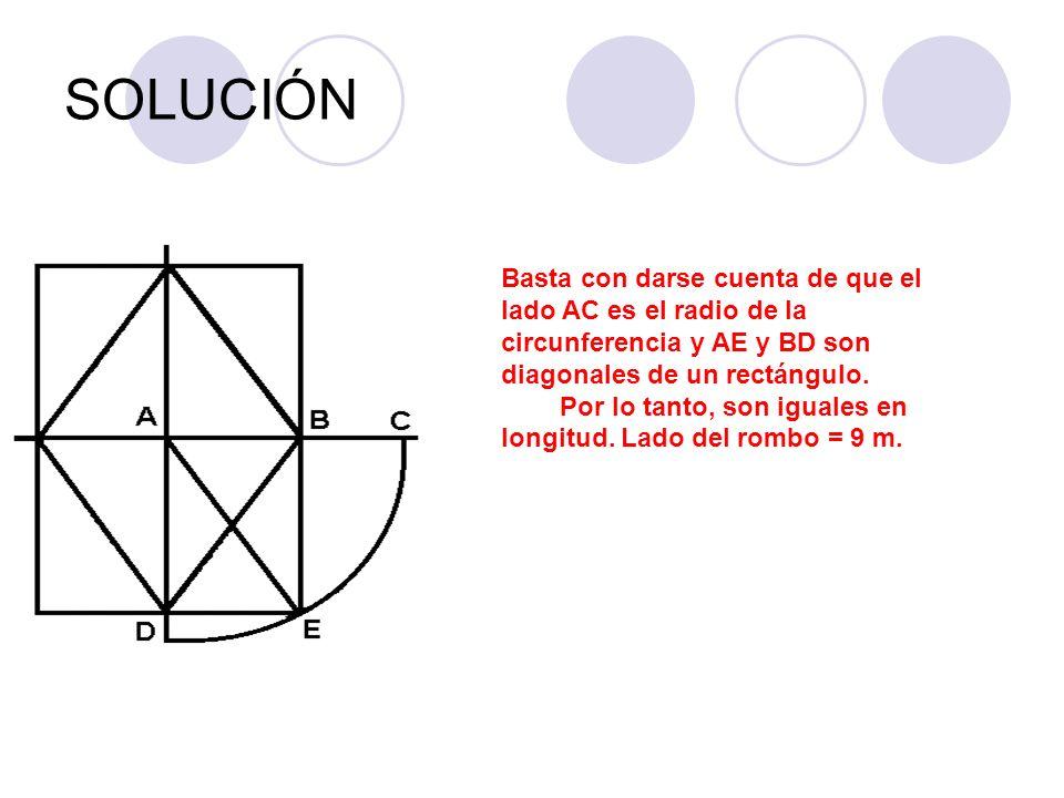 SOLUCIÓN Basta con darse cuenta de que el lado AC es el radio de la circunferencia y AE y BD son diagonales de un rectángulo. Por lo tanto, son iguale