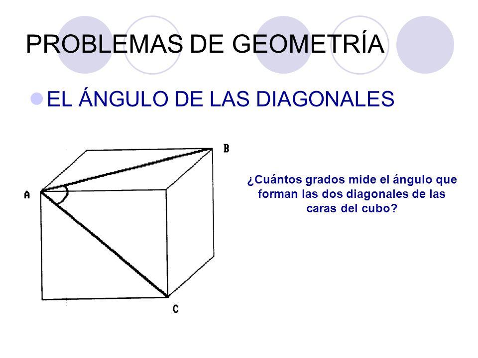 PROBLEMAS DE GEOMETRÍA EL ÁNGULO DE LAS DIAGONALES ¿Cuántos grados mide el ángulo que forman las dos diagonales de las caras del cubo?