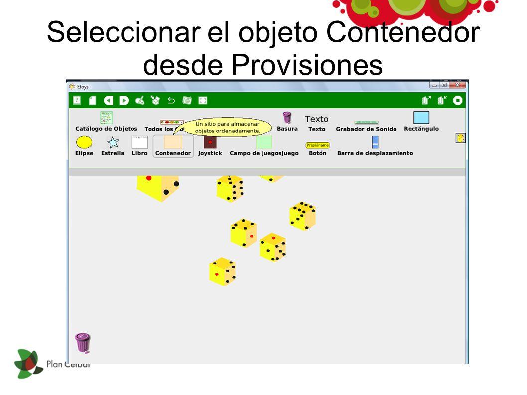Seleccionar el objeto Contenedor desde Provisiones